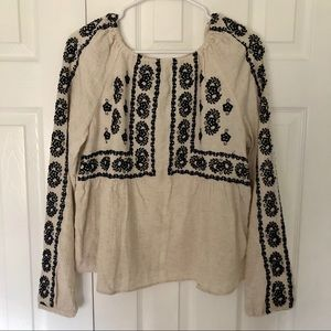 Zara embroidered linen top with slits on the back